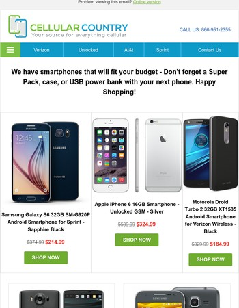 Tuesday Deals: $214 Sprint Galaxy S6, $324 Unlocked iPhone 6, $184 Verizon Droid Turbo 2, and more...