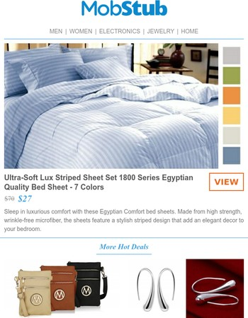 Ultra-Soft Lux Striped Sheet Set 1800 Series Egyptian Quality Bed Sheet Set - SALE -