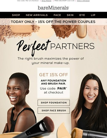 Exclusive Offer - Get 15% off any foundation and brush pair!