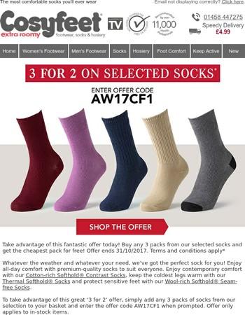 3 for 2 on selected packs of socks - Comfort guaranteed