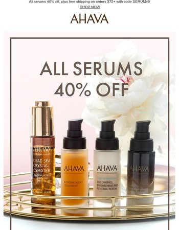 Use code SERUM40 for 40% off all serums