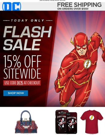 Our 15% off one-day Flash Sale starts now!