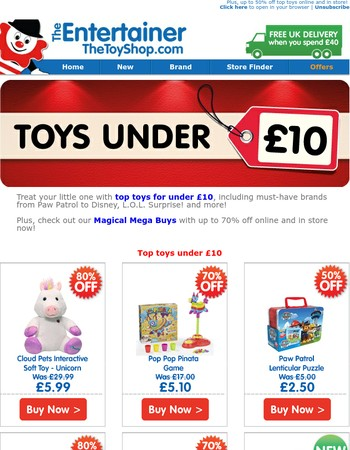 £10 or under on these top toys!