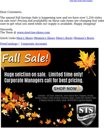 FALL SALE!   Over 1,250 Styles ON SALE NOW @ Steel-Toe-Shoes!