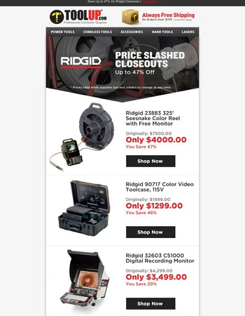 Ridgid Closeouts: Up to 47% Off