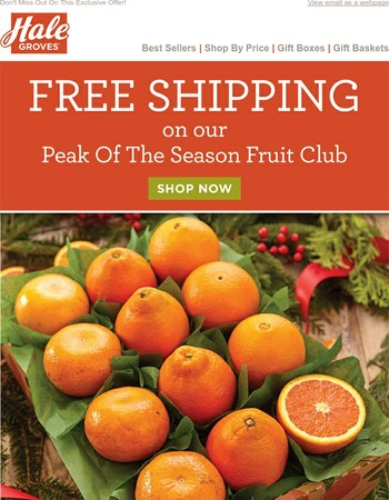 Free Shipping on our Peak Of The Season Fruit Club