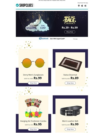 NIGHT SHOW!! Deals from Rs.39-Rs.99 | 7PM-10AM | Free Shipping & COD