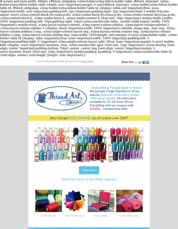 Machine Embroidery Thread Back in Stock!