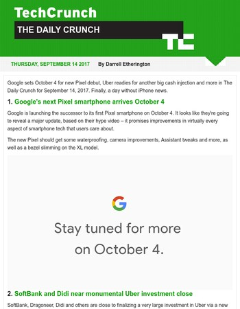 Google sets Pixel 2 launch date. It's The Daily Crunch.