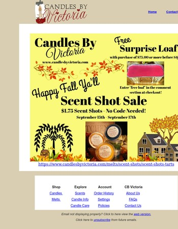 Candles By Victoria Scent Shot Sale!