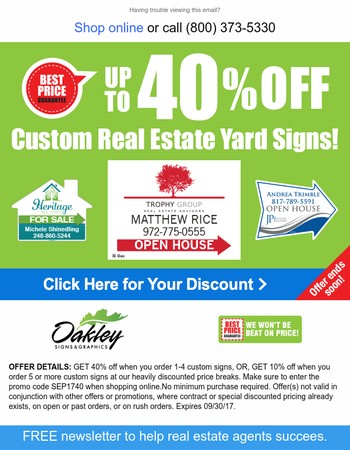 SAVE up to 40% on Yard Signs!