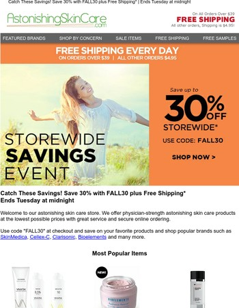 Catch These Savings!  Save 30% plus Free Shipping*