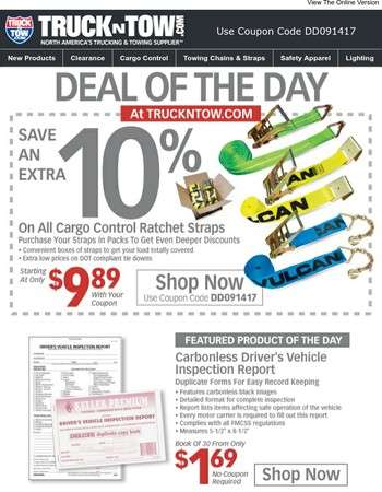 Save An Extra 10% On All Cargo Control Ratchet Straps