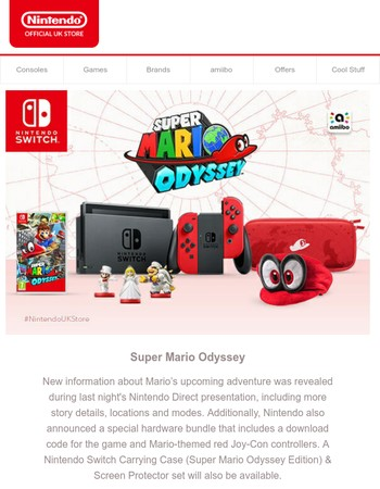 Super Mario Odyssey - New Wedding amiibo, Nintendo Switch Console and Case Now Available