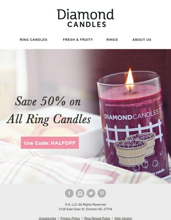50% OFF All Ring Candles!