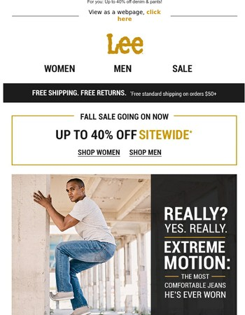 Get a move on: Extreme Motion jeans for him