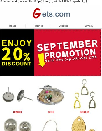 20% Off Promotion for Gets on Sep