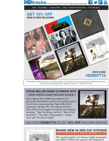 New Hi-Res Steve Miller Band, Cat Stevens, The Doors, Foo Fighters & More Major Releases Inside!