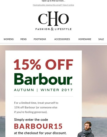 Exclusively for you: 15% off Barbour including sale items!