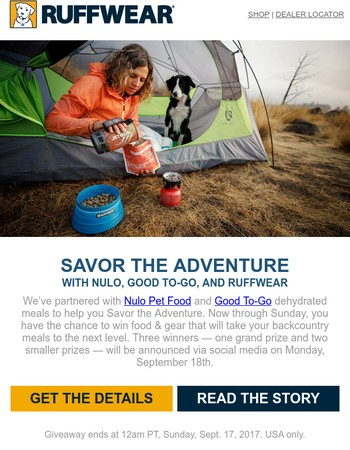 Giveaway! Savor the Adventure with Nulo, Good To-Go, and Ruffwear.