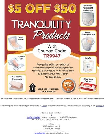 The Savings Continues! Save $5 on Tranquility Products!