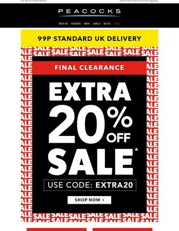 Final Clearance! Extra 20% off sale.