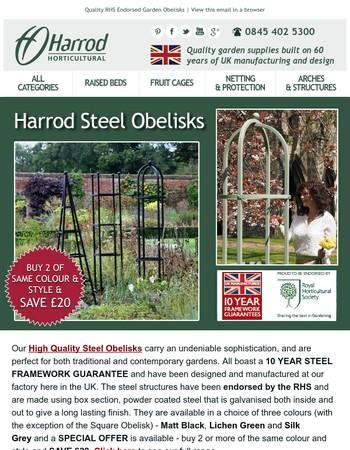 Save money on our Superior Steel Obelisks