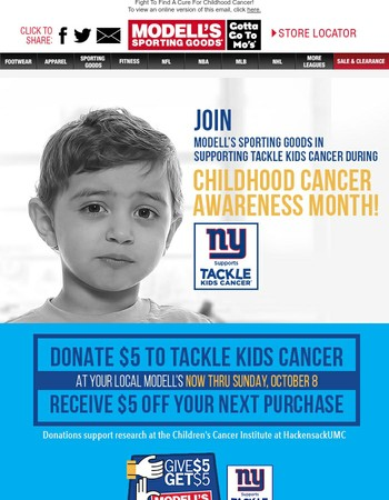Give $5, Get $5 - Modell's Teams Up With Tackle Kids Cancer