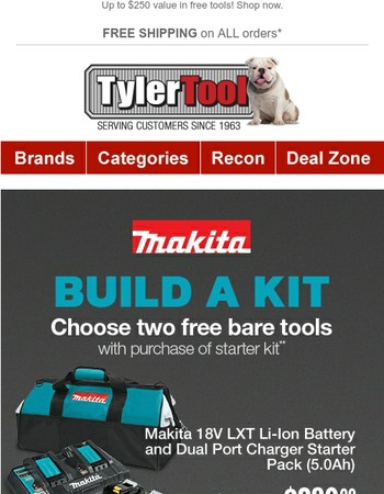 2 Free Makita Bare Tools with Battery & Charger Starter Kit!