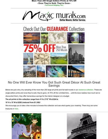 ◈ 75% Off Large Art Prints & Wall Murals ◈ Single Editions! Once They're Sold, They're Gone ◈