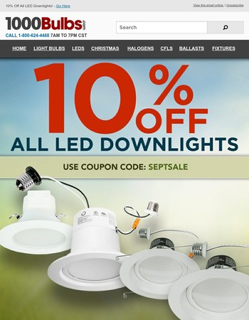 10% Off All LED Downlights and All Christmas