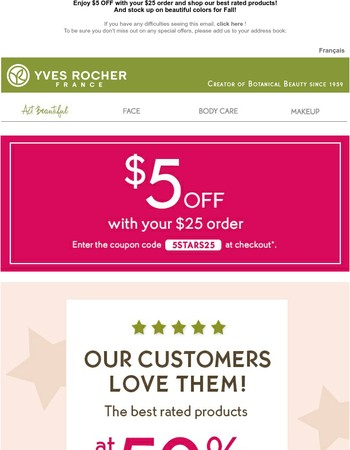 How about $5 OFF to shop your Favs?