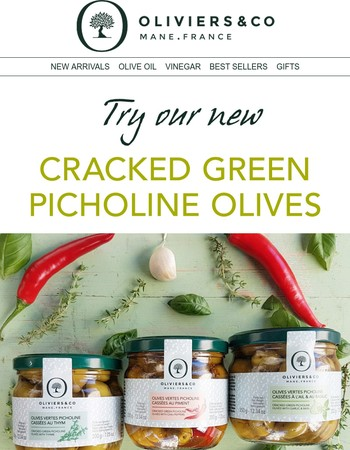 New: Cracked Picholine Green Olives