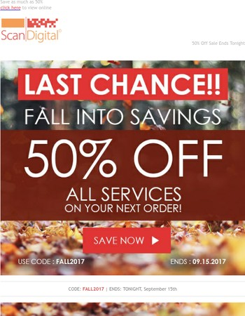 Last Chance to Fall Into 50% Savings - Don't Miss Out!