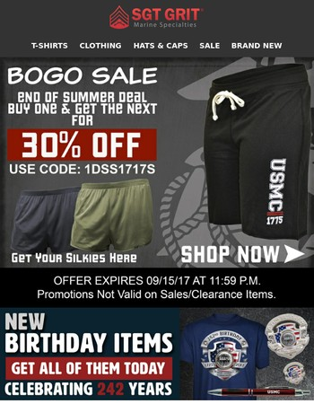 End of Summer Short Sale!  Buy one and get the next one for 30% off!