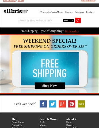 Weekend Deals: Free Shipping + 5% Off Anything
