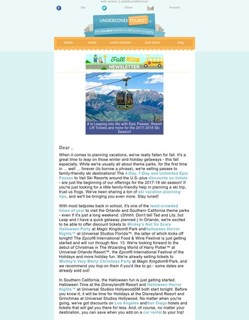 Fall 2017 Newsletter - Undercover Tourist