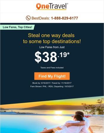 ✈ Top Destinations Sale! $38.19 One Way!