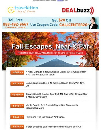 Fly R/T to Paris from $613; 6-Nt Japan Tour w/Air from $1699 & Many More Great Deals!