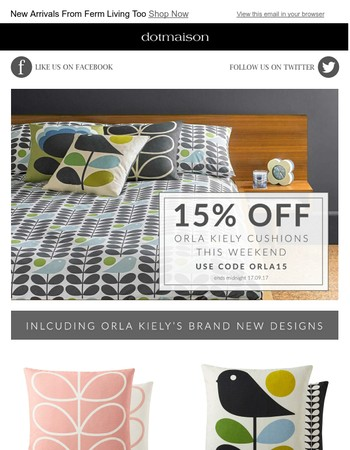 15% Off Orla Kiely Cushions This Weekend - Including Brand New Designs