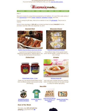 Gourmet Wisconsin Food On Sale Now - Special Discount On Your Next Order