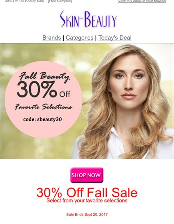 30% Off Fall Beauty Sale + [Free Samples]