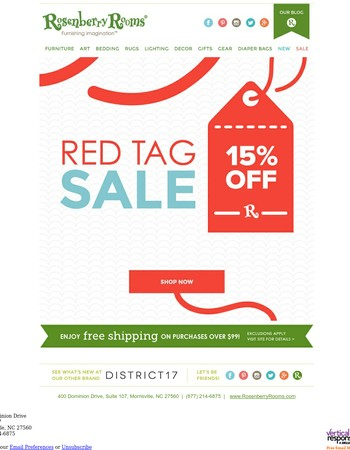 Red Tag Sale! Save 15%