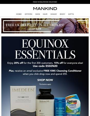 Equinox Essentials   Save 20% inside PLUS Free Gift