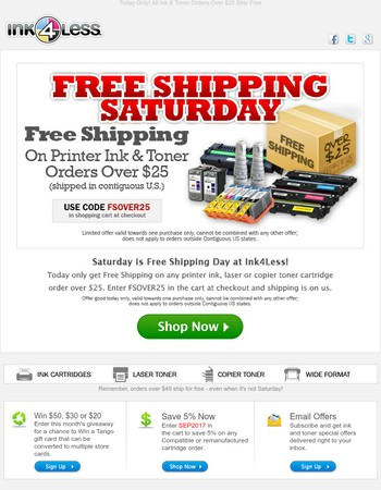 Free Shipping Saturday: One-Day Only!