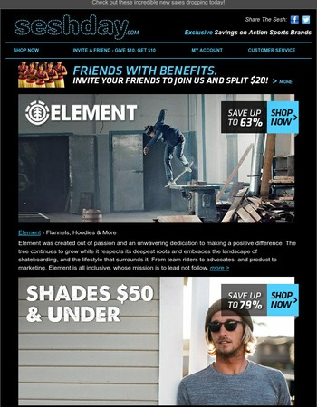 Element Brand, Shades $50 & Under, and Belts & Wallets