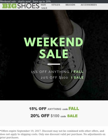 Weekend Sale -  Save up to 20%