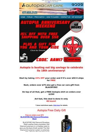 HUGE Savings on Autopia Anniversary Weekend!
