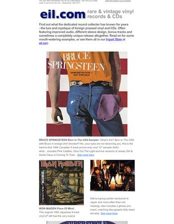 Worldwide Vinyl & CD Rarities EIL - Sep 16th 2017 - Bruce Springsteen, Iron Maiden, David Bowie, Pat Benatar, Morrissey, Kate Bush etc. - blog.eil.com