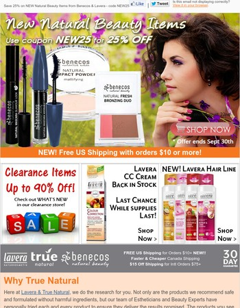 25% Off New Natural Beauty Items from Benecos & Lavera
